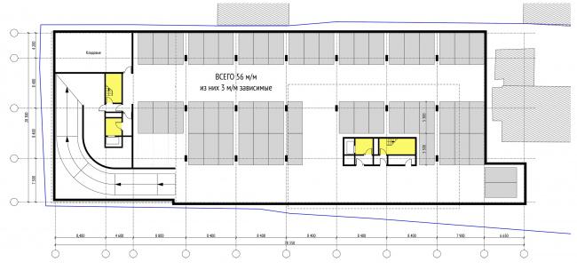 План подземного этажа на отм. -6.900 м  © Проектное бюро АПЕКС