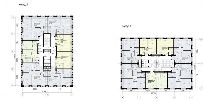 Plan of the 3-4 floors © APEX project bureau