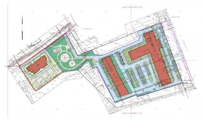 Многофункциональный комплекс на Софийской. Генплан © Архитектурная мастерская А.А. Столярчука