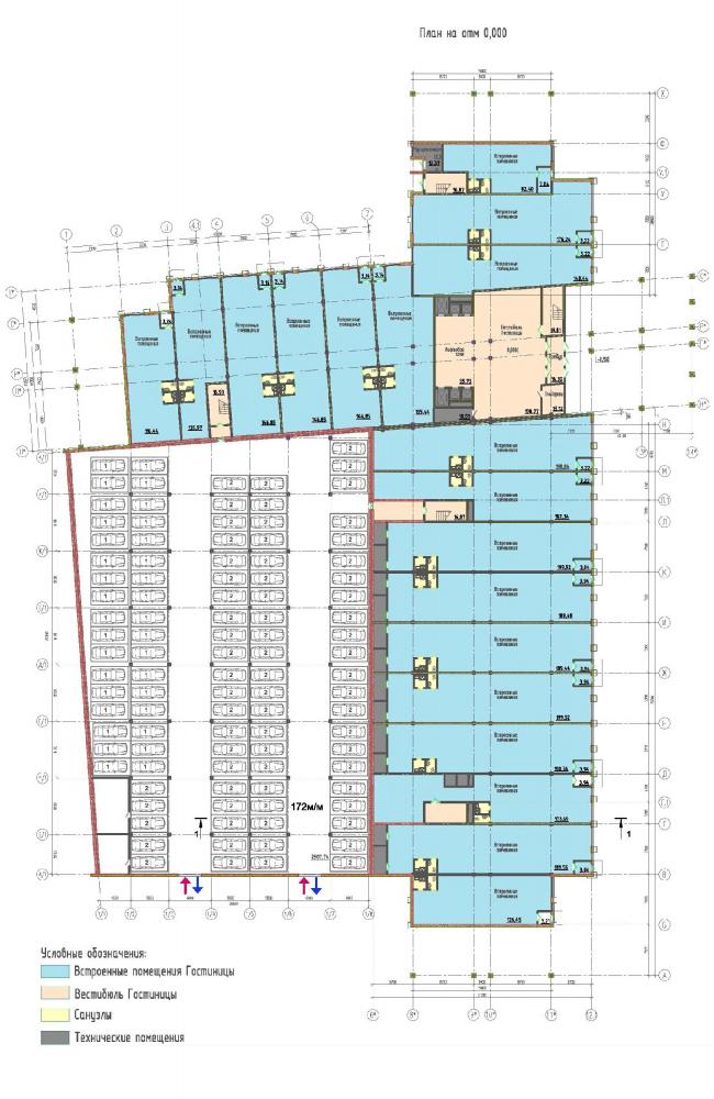 Многофункциональный комплекс на Софийской. Гостиница. План 1 этажа © Архитектурная мастерская А.А. Столярчука