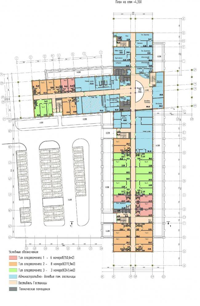 Многофункциональный комплекс на Софийской. Гостиница. План 2 этажа © Архитектурная мастерская А.А. Столярчука