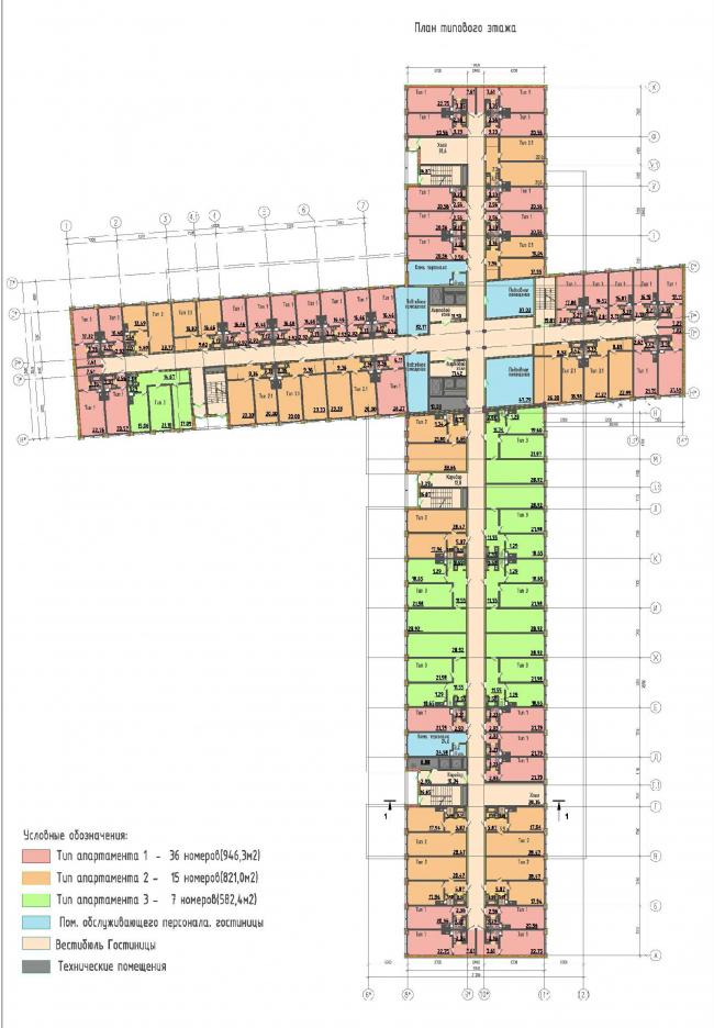 Многофункциональный комплекс на Софийской. Гостиница. План типового этажа © Архитектурная мастерская А.А. Столярчука