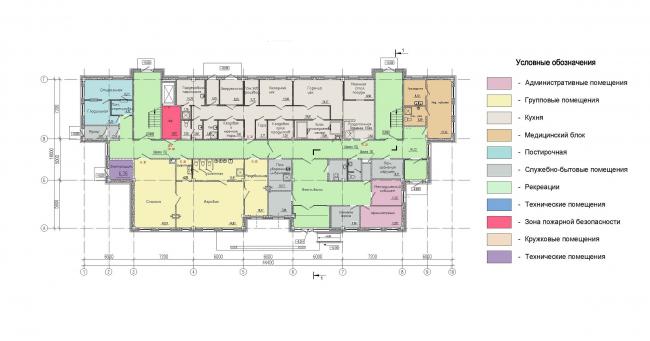 Многофункциональный комплекс на Софийской. ДОО. План 1 этажа © Архитектурная мастерская А.А. Столярчука