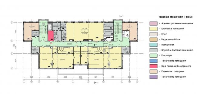 Многофункциональный комплекс на Софийской. ДОО. План 2,3 этажей © Архитектурная мастерская А.А. Столярчука