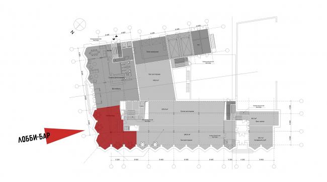 Реконструкция здания на Зубовской площади. 1 этаж