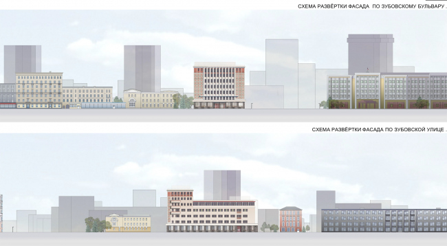 """Reconstruction of the building at the Zubovskaya Square. The project, development drawing © """"GRAN"""" architects"""