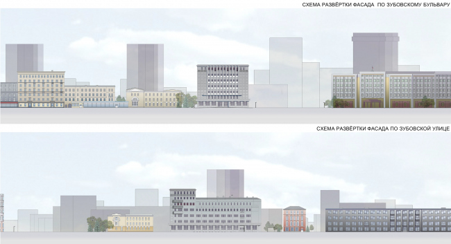 """Reconstruction of the building at the Zubovskaya Square. The current situation, development drawing © """"GRAN"""" architects"""