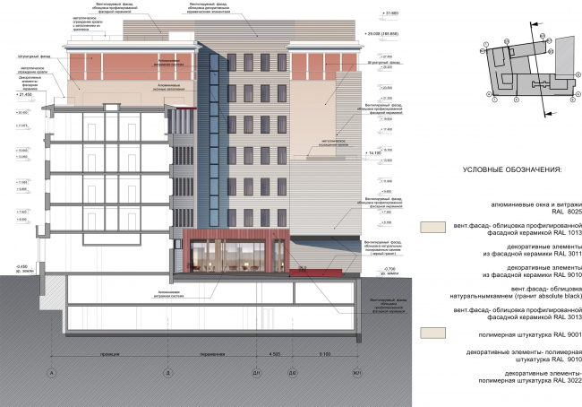 """Reconstruction of the building at the Zubovskaya Square. Facade © """"GRAN"""" architects"""