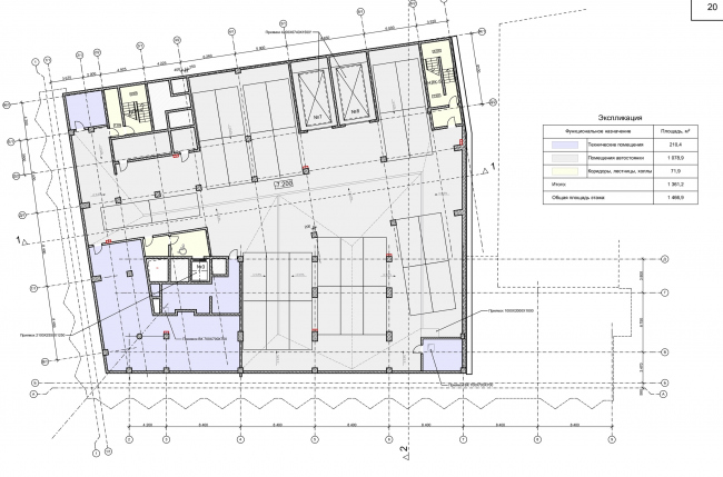 """Reconstruction of the building at the Zubovskaya Square. Plan of the -2nd floor © """"GRAN"""" architects"""