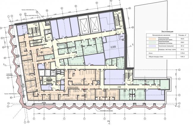 Реконструкция здания на Зубовской площади. План -1 этажа