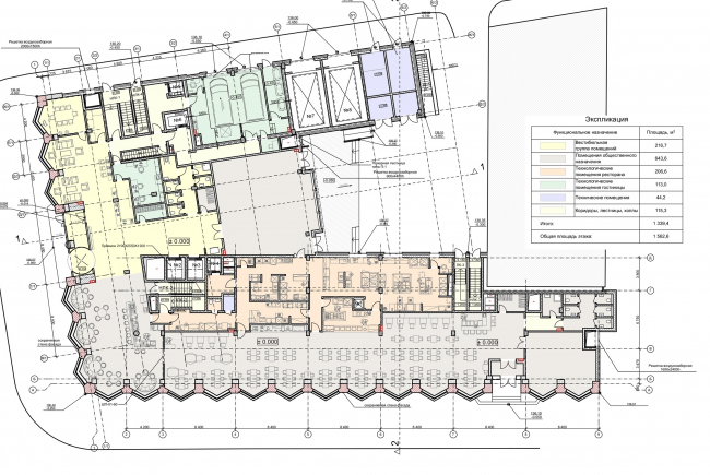 """Reconstruction of the building at the Zubovskaya Square. Plan of the 1st floor © """"GRAN"""" architects"""