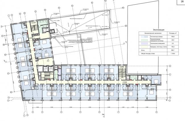 Реконструкция здания на Зубовской площади. План 3 этажа