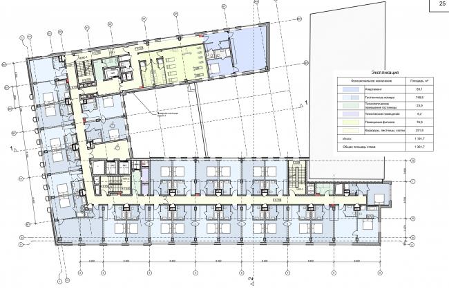 Реконструкция здания на Зубовской площади. План 4 этажа © Архитектурная мастерская «ГРАН»