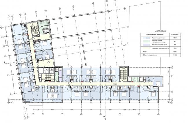 Реконструкция здания на Зубовской площади. План 5 этажа