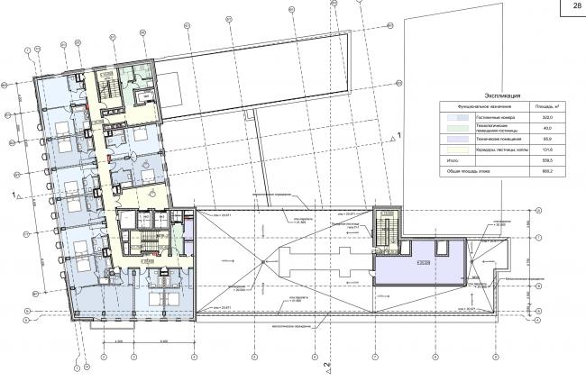 Реконструкция здания на Зубовской площади. План 6 этажа