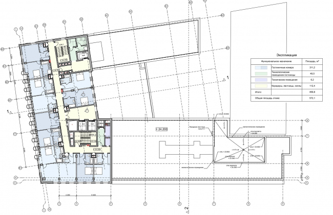 """Reconstruction of the building at the Zubovskaya Square. Plan of the 7th floor © """"GRAN"""" architects"""