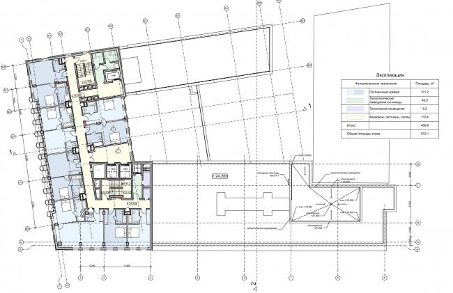 Реконструкция здания на Зубовской площади. План 7 этажа