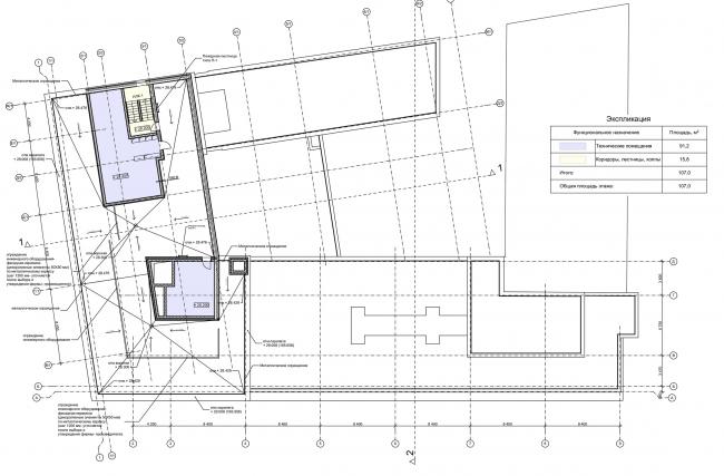 Реконструкция здания на Зубовской площади. План кровли