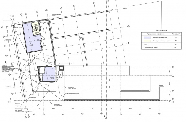 """Reconstruction of the building at the Zubovskaya Square. Plan of the roof © """"GRAN"""" architects"""