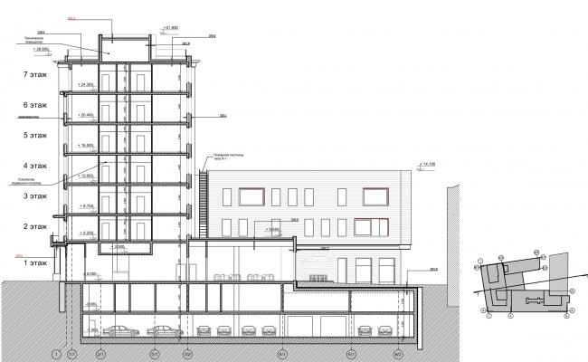 Реконструкция здания на Зубовской площади. Разрез 1-1 © Архитектурная мастерская «ГРАН»
