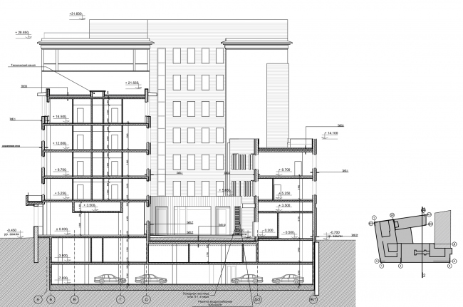 """Reconstruction of the building at the Zubovskaya Square. Section view 2-2 © """"GRAN"""" architects"""