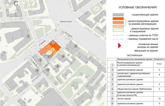 Реконструкция здания на Зубовской площади. Ситуационный план
