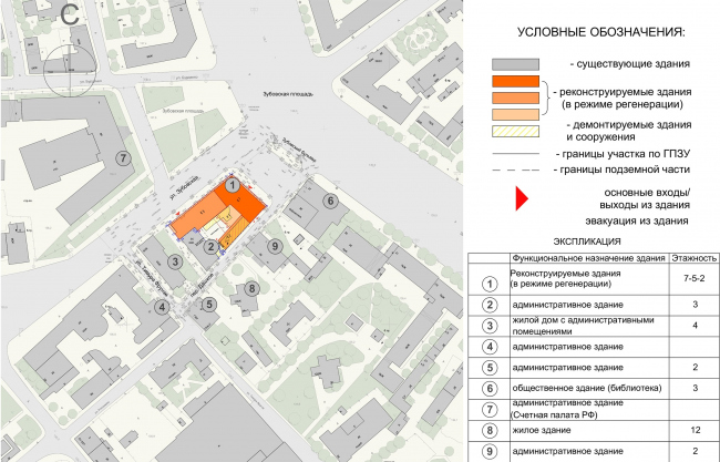 """Reconstruction of the building at the Zubovskaya Square. Location plan © """"GRAN"""" architects"""