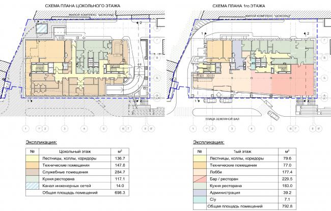 Гостиница на ул. Земляной Вал. Схема плана цокольного и первого этажей