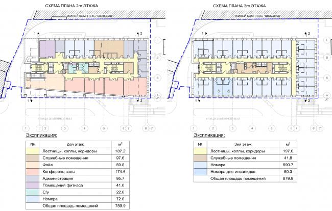 Гостиница на ул. Земляной Вал. Схема плана 2 и 3 этажей