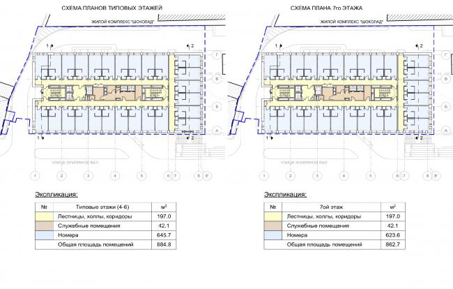 Гостиница на ул. Земляной Вал. Схема плана типового и 7 этажей
