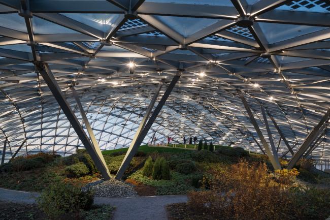 Zaryadye Concert Hall. The grid shell. Photograph © Aleksey Naroditsky