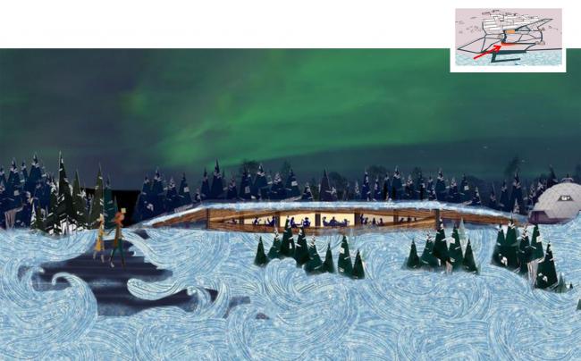 Игарка. Вид с Енисея на кафе с обзорной площадкой и павильон музея © Master's Plan