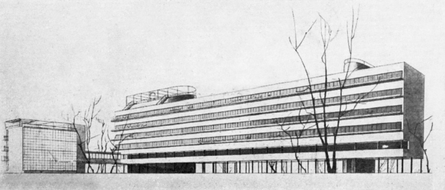 "The Narkomfin Building, project. From Moisei Ginsburg's book ""Home"""