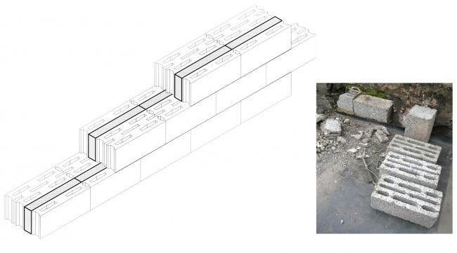 Блоки «Крестьянин» для улучшения теплоизоляции пересыпали каменной крошкой. Предоставлено Гинзбург Архитектс