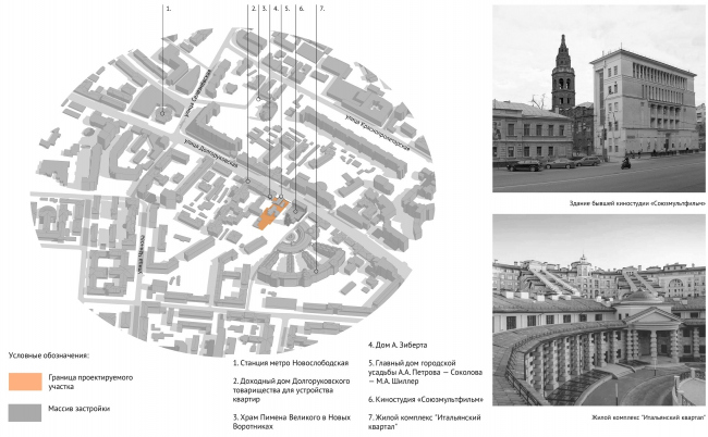 Dolgorukovskaya, 25. Map of the development of the area in the XXI century © APEX project bureau