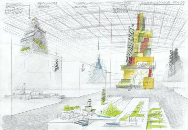 Эскиз концепции экспозиции фестиваля «Зодчество 2018». Рисунок Влада Савинкина