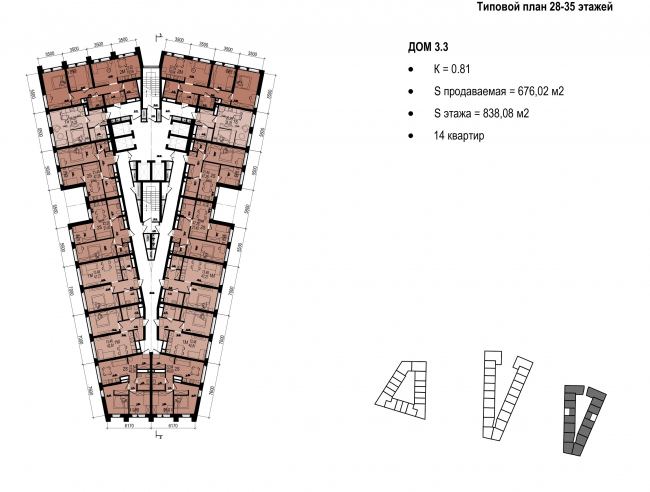 Standard plan of floors 289-35 © OSA Group