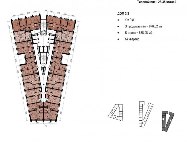 Standard plan of floors 289-35 © OSA Group