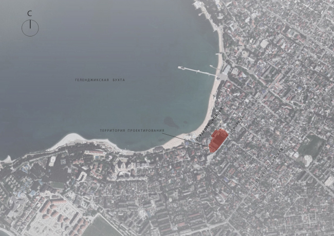 Эскизный проект курортного комплекса в Геленджике. Схема ситуационного плана © Гинзбург Архитектс