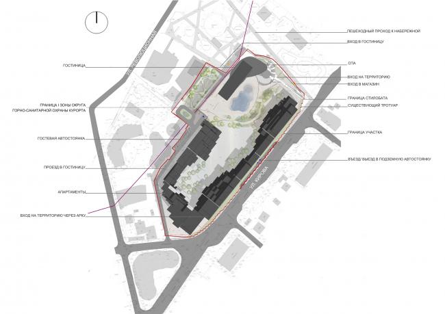 Эскизный проект курортного комплекса в Геленджике. Схема генплана © Гинзбург Архитектс