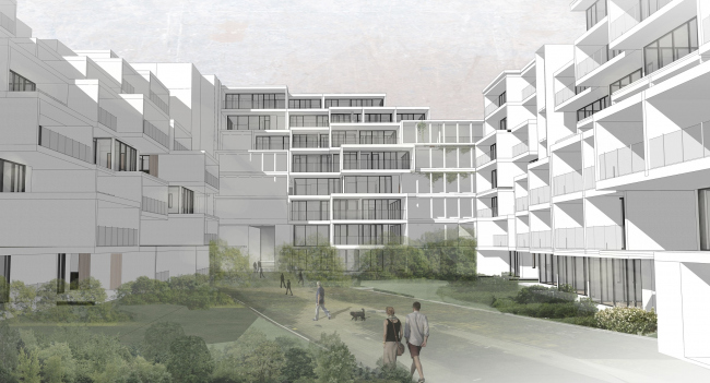 Эскизный проект курортного комплекса в Геленджике. Комплекс апартмаментов © Гинзбург Архитектс