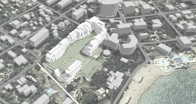 Эскизный проект курортного комплекса в Геленджике. Общий вид со стороны набережной © Гинзбург Архитектс