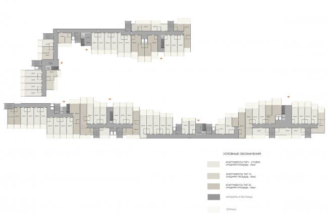 Эскизный проект курортного комплекса в Геленджике. Апартаменты. Схема плана 1 этажа © Гинзбург Архитектс