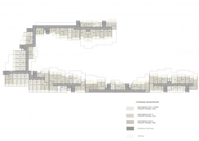 Эскизный проект курортного комплекса в Геленджике. Апартаменты. Схема плана 3 этажа © Гинзбург Архитектс