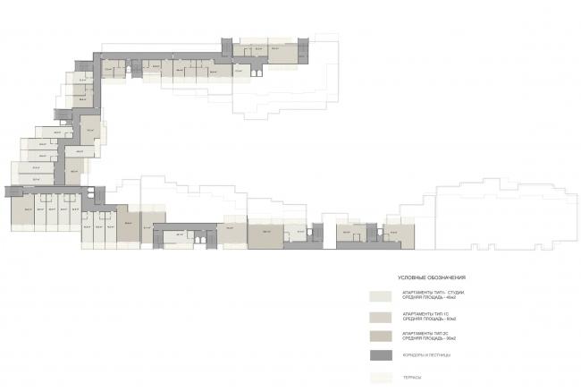 Эскизный проект курортного комплекса в Геленджике. Апартаменты. Схема плана 6 этажа © Гинзбург Архитектс