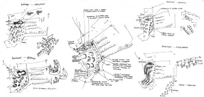 Рекреационный комплекс «Геленджик-Марина»на Тонком мысе в городе-курорте Геленджик. Эскиз. Поиск © Гинзбург Архитектс