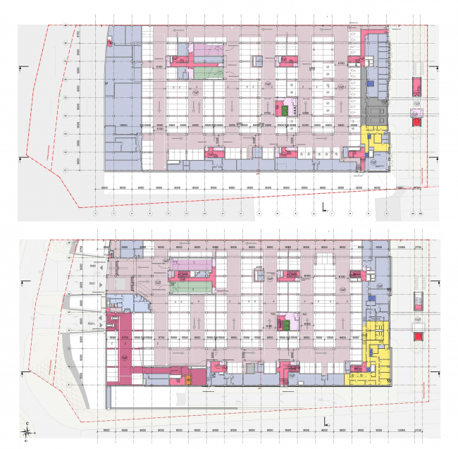 Многофункциональный офисный центр «Амальтея». Планы подземного и 1 этажей