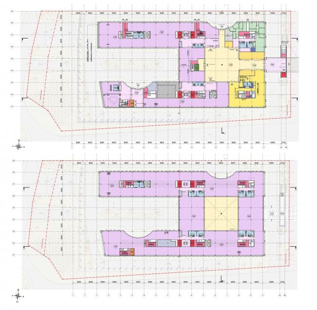 Многофункциональный офисный центр «Амальтея». Планы 2 и 3 этажей