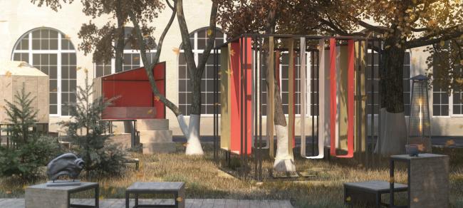 Проект зоны отдыха для МГХПА им. С.Г. Строганова. Автор: Полина Турищева, МГХПА им. С.Г. Строганова
