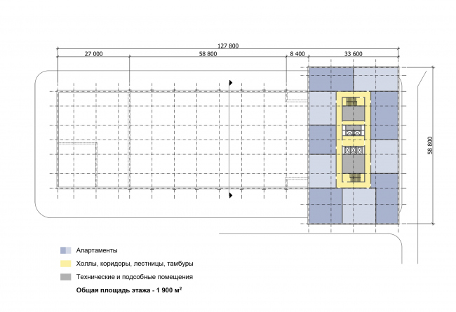 """Multifunctional complex """"Technology park """"Fridge"""". Scheme of the plan of the typical (14-17) floor © GRAN"""